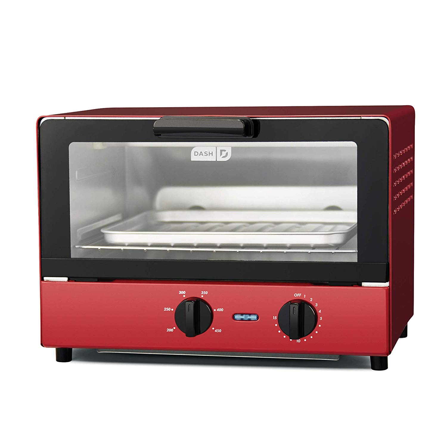 Dash Compact Toaster Oven Cooker for Bread, Bagels, Cookies, Pizza, Paninis & More with Baking Tray, Rack + Auto Shut Off Feature – Red