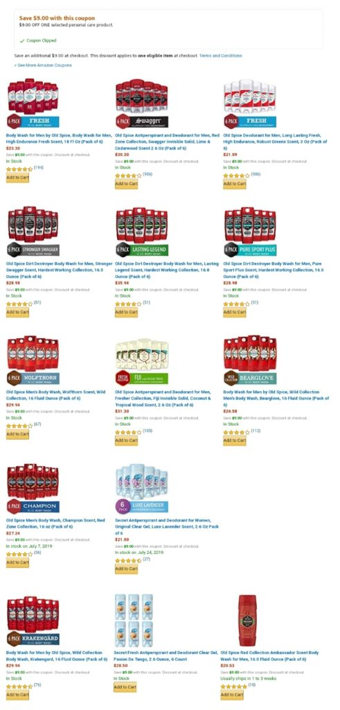 Body wash and deodorants coupon (old spice/ secret)