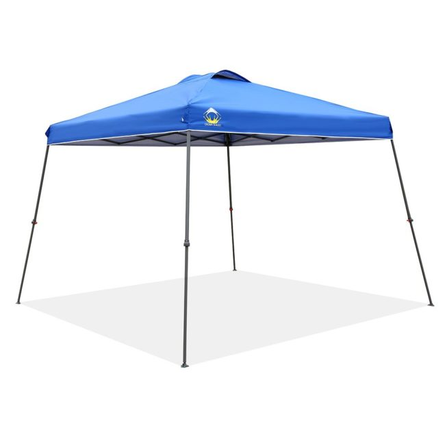 Lightning Deal – CROWN SHADES Patented 11ft. x 11ft. Slant Leg One Push Up Clia Instant Folding Canopy with Wheeled Bag, Blue for $82.99