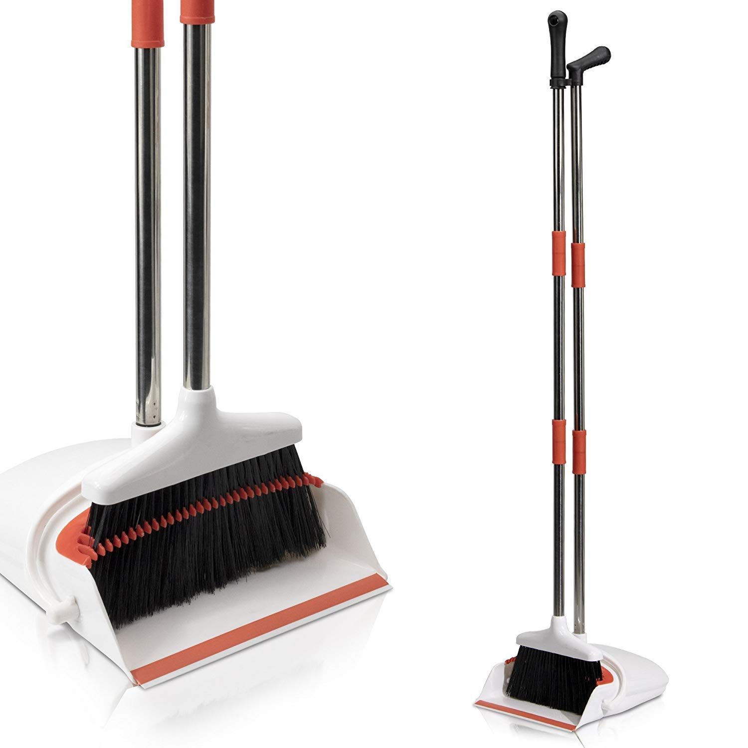 Primica Broom and Dustpan Set – Self-Cleaning Broom Bristles – Ideal Kitchen, Home and Lobby Broom and Dustpan Combo – Premium Brush, Wisp and Dust Cleaner