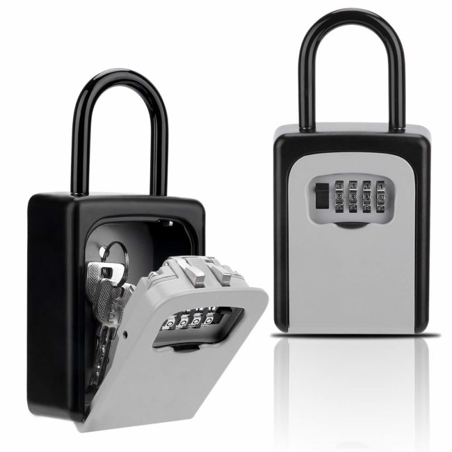 Lightning Deal – Key Lock Box, Combination Lockbox with Code for House Key Storage, Combo Door Locker for $13.59