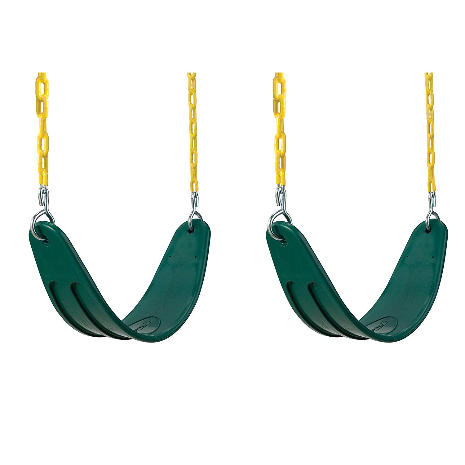 2 Pack of Outdoor, Playground Swings with Coated Chains & Quick Links, Green – Extreme Heavy Duty Swing Seat Set