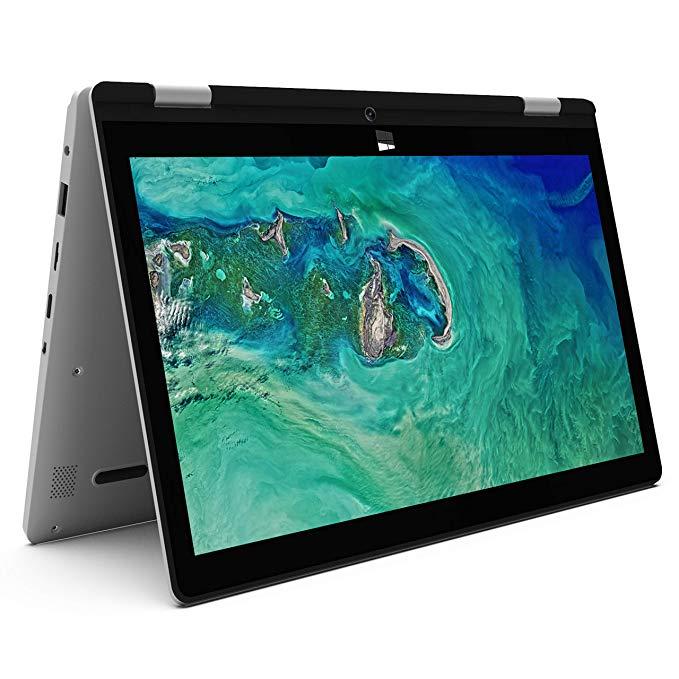 XIDU Touchscreen 2-in-1 Laptop, 11.6-Inch Full HD IPS Display Convertible Notebook, Intel Atom Processor, 4GB RAM, 64GB eMMC, Webcam, WiFi, Bluetooth, USB 3.0, HDMI, Windows 10 Home, Silver