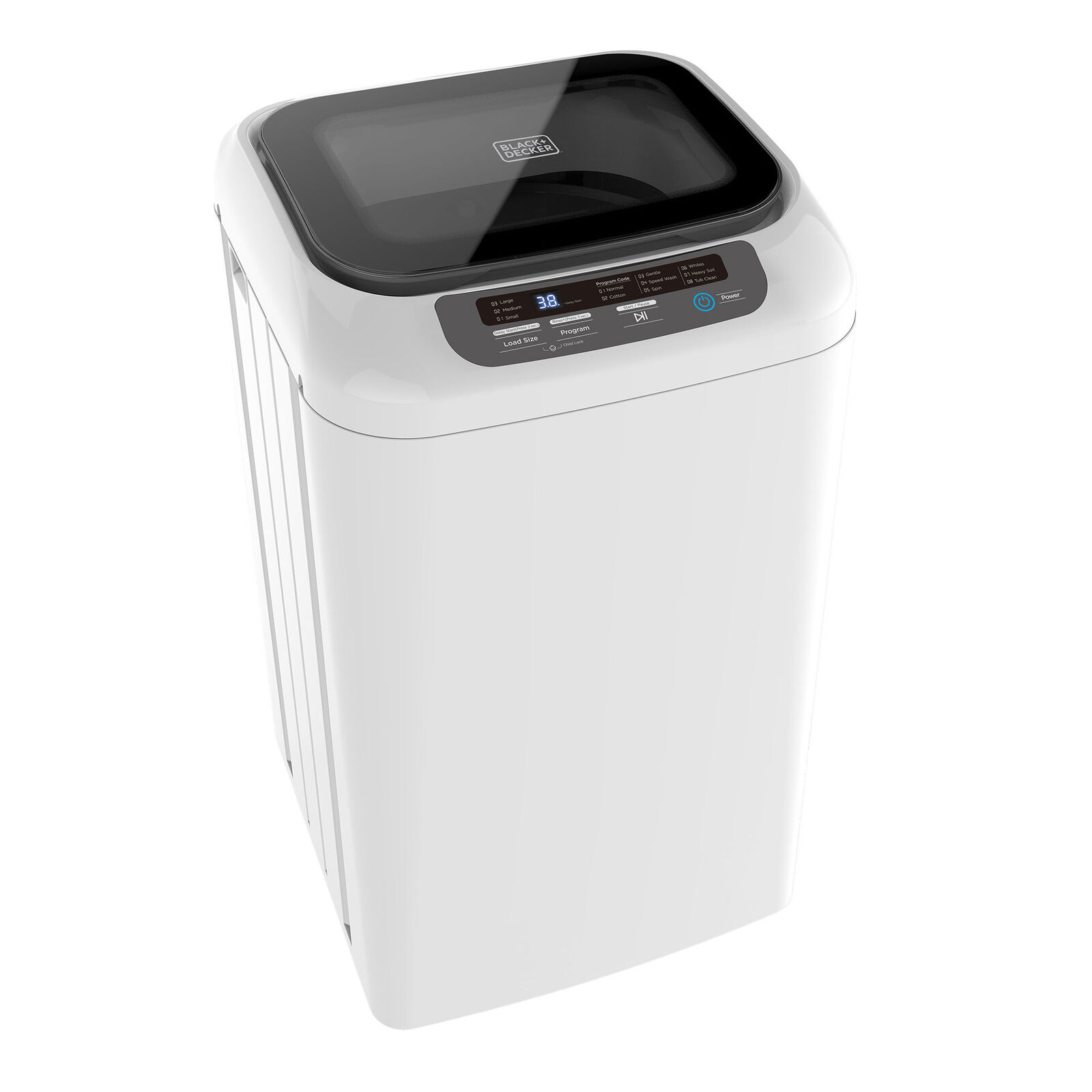 Black + Decker 0.84 Cu. Foot Portable Dorm Apartment Mini Washing Machine, White