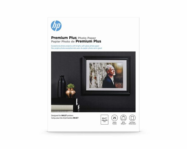 HP Premium Plus Photo Paper | Soft Gloss | 8.5×11 | 25 Sheets for $8.74